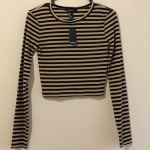 Black/Tan striped long sleeve crop top. NEW!